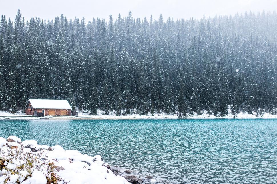 Download Free Stock Photo of Snowfall on Lake Louise
