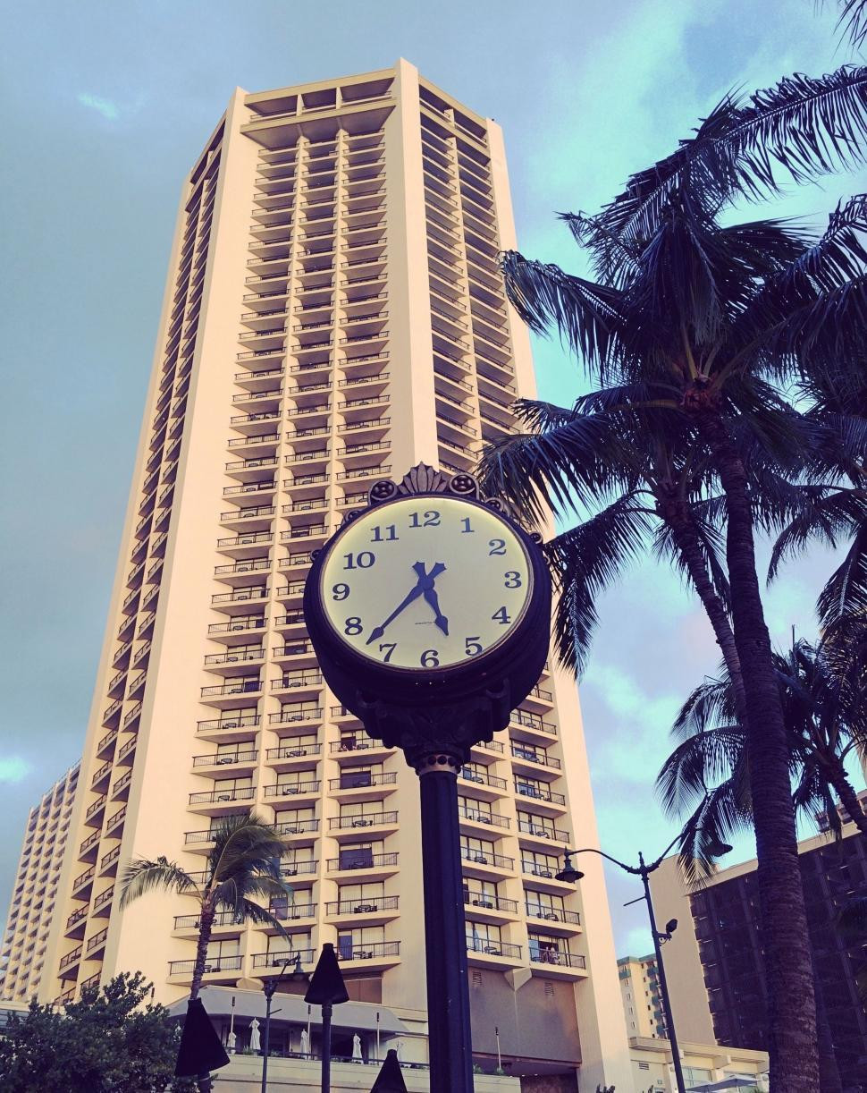 Download Free Stock Photo of Hyatt Regency Waikiki With Palm Trees and Blue Sky