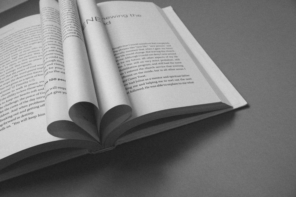 Download Free Stock Photo of Open book with folded pages - B&W