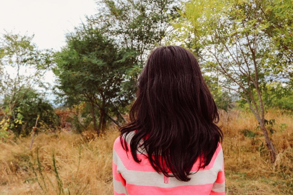 Download Free Stock Photo of Back view of young girl in forest