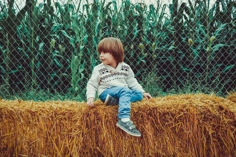 Download Free Stock Photo of Little Boy and Hay bales