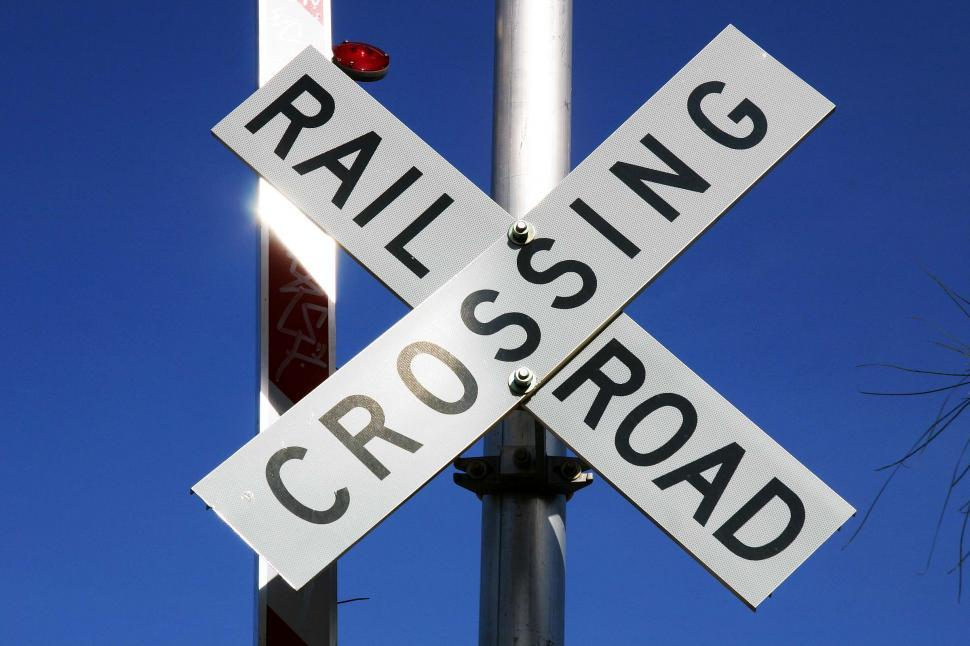 Download Free Stock Photo of Crossing Rail Road Sign