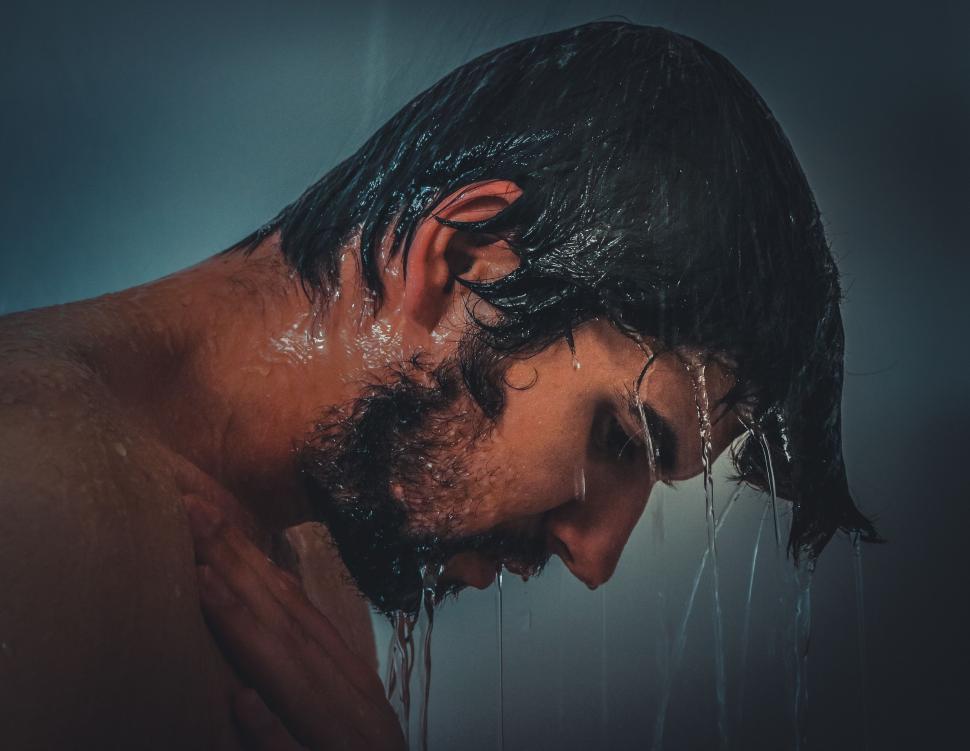 Download Free Stock Photo of Man Taking Shower