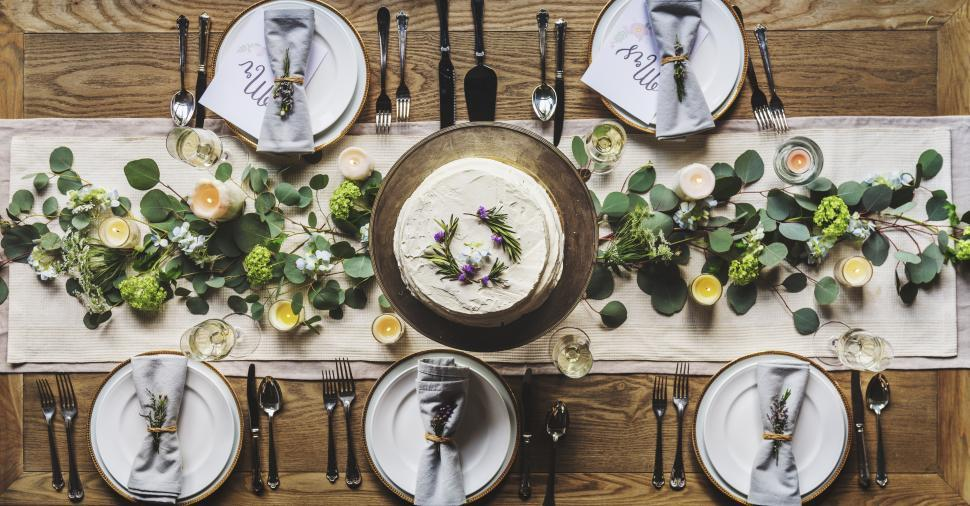 Download Free Stock Photo of Over the head view of a dining table