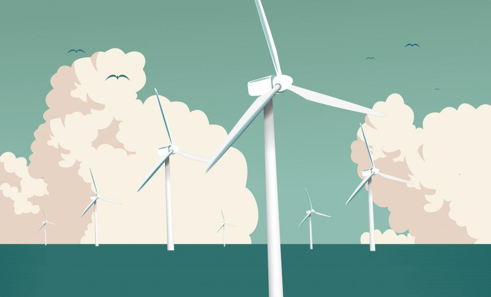 Download Free Stock Photo of Wind Farm at Sea - Larger Clouds - Green Energy