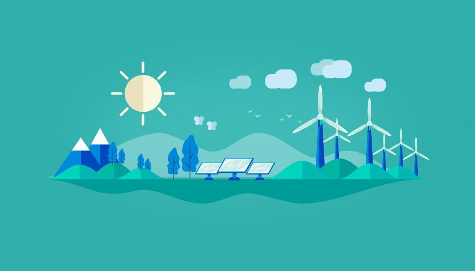 Download Free Stock Photo of Green Energy - Solar Panels and Wind Turbines