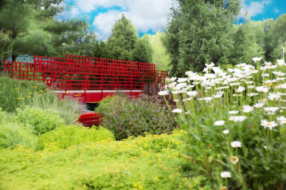 Download Free Stock Photo of Red Bridge and trees in the garden