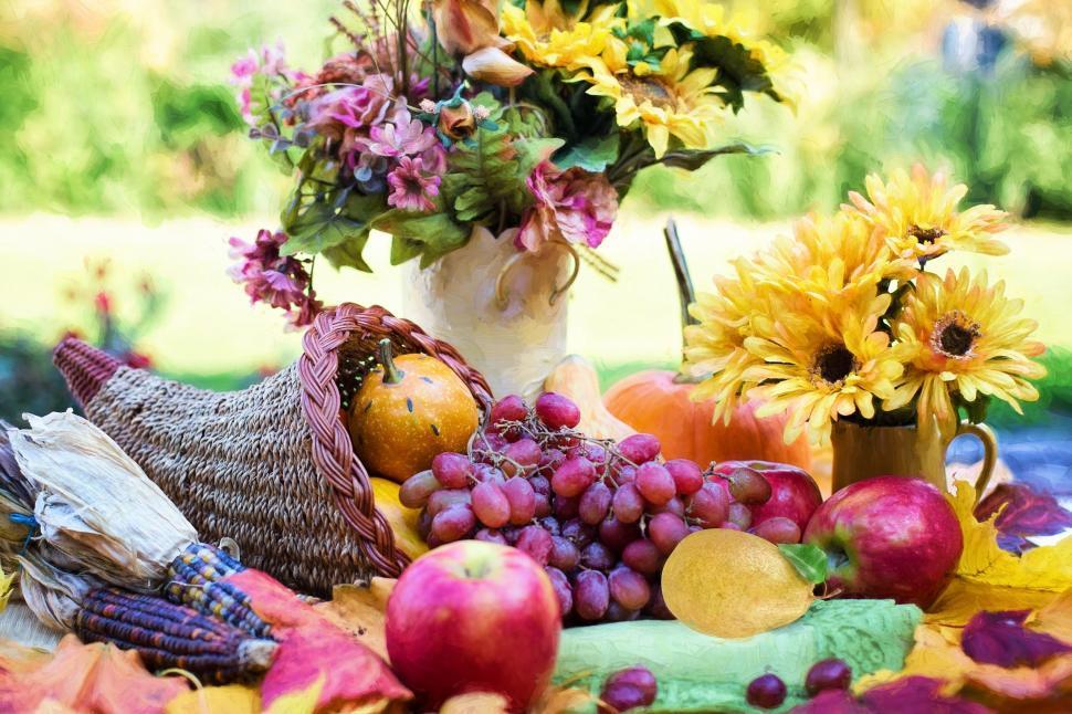 Download Free Stock Photo of Cornucopia of fruit