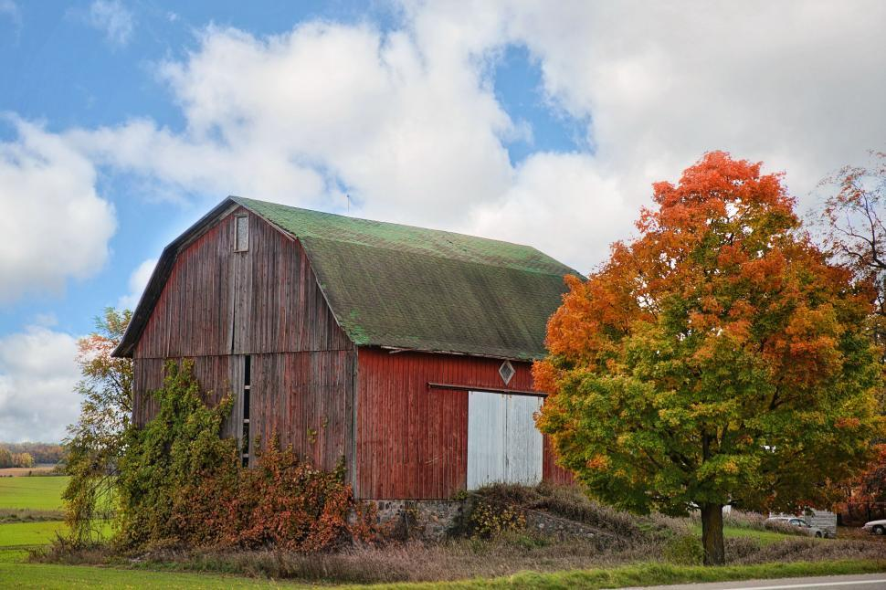 Download Free Stock Photo of Old Barn with Autumn Trees