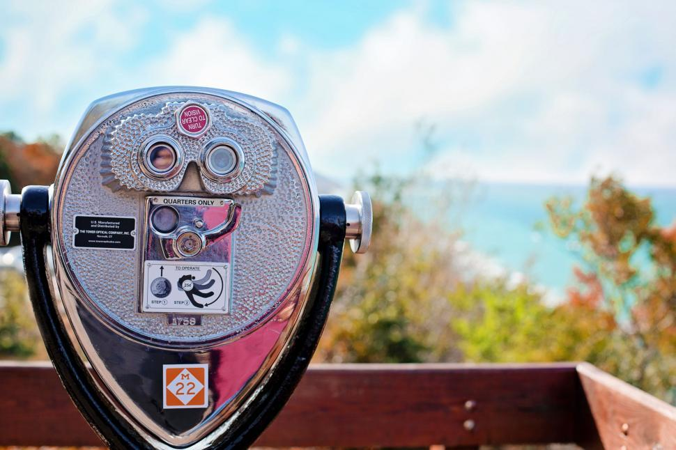 Download Free Stock Photo of Coin Operated Binocular for Tourists