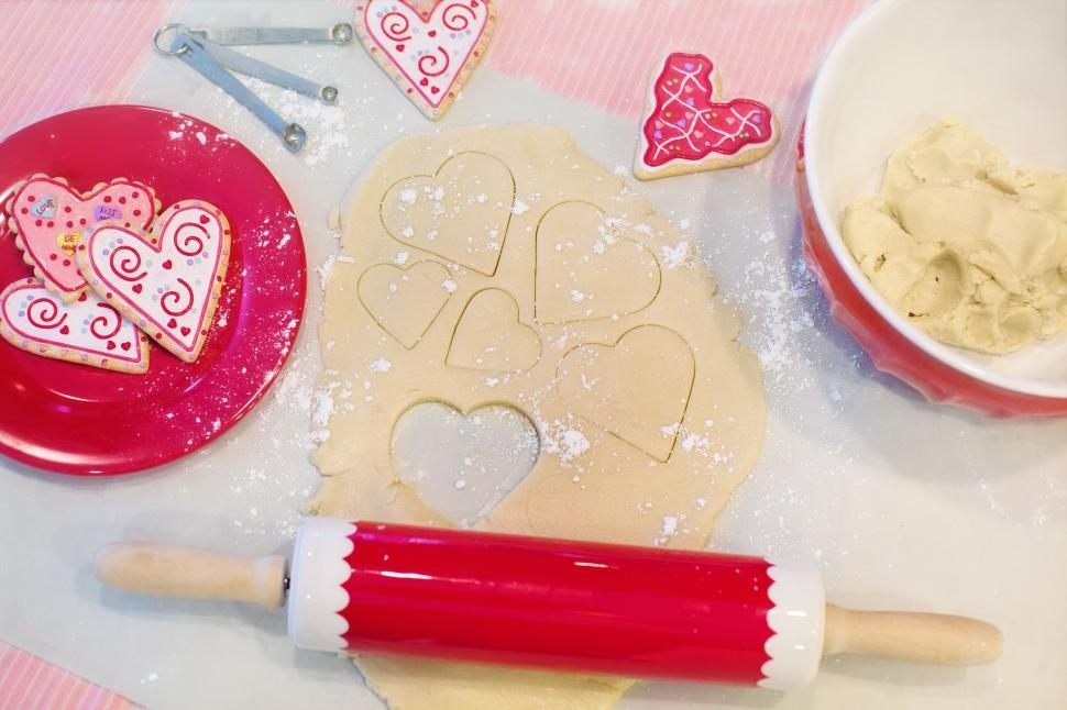Download Free Stock Photo of Baking - Heart shaped cookies