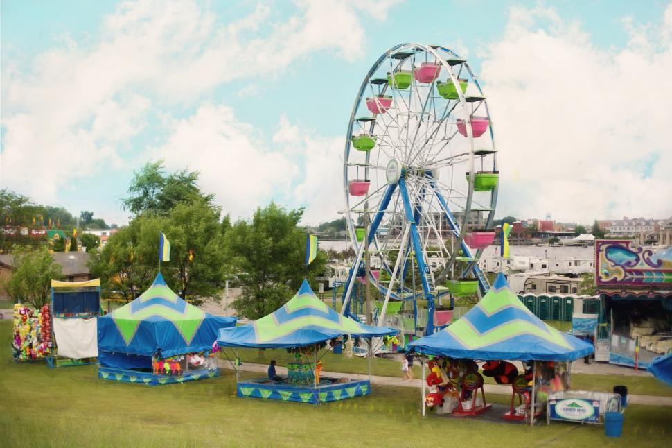Download Free Stock Photo of Ferris Wheel and Country Fair With Blue Sky