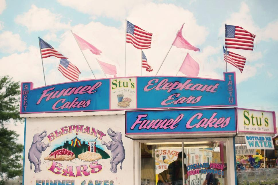 Download Free Stock Photo of Funnel cake stand at the carnival