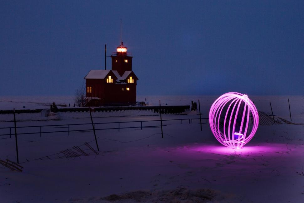 Download Free Stock Photo of Orb Lights and Holland Harbor Lighthouse