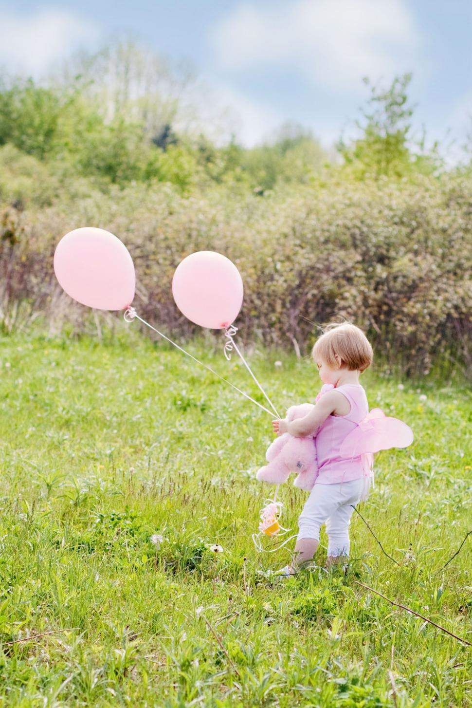 Download Free Stock Photo of Little Girl With Pink Balloons