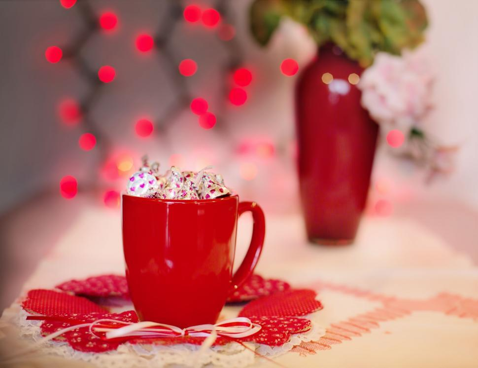 Download Free Stock Photo of Red Coffee Mug and Red Bokeh Lights