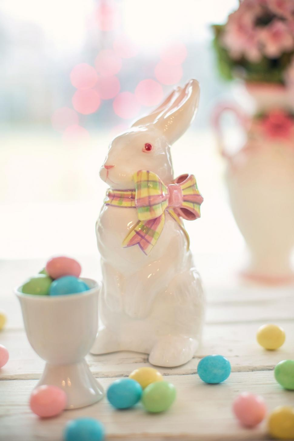 Download Free Stock Photo of White Easter Bunny - Bokeh Lights