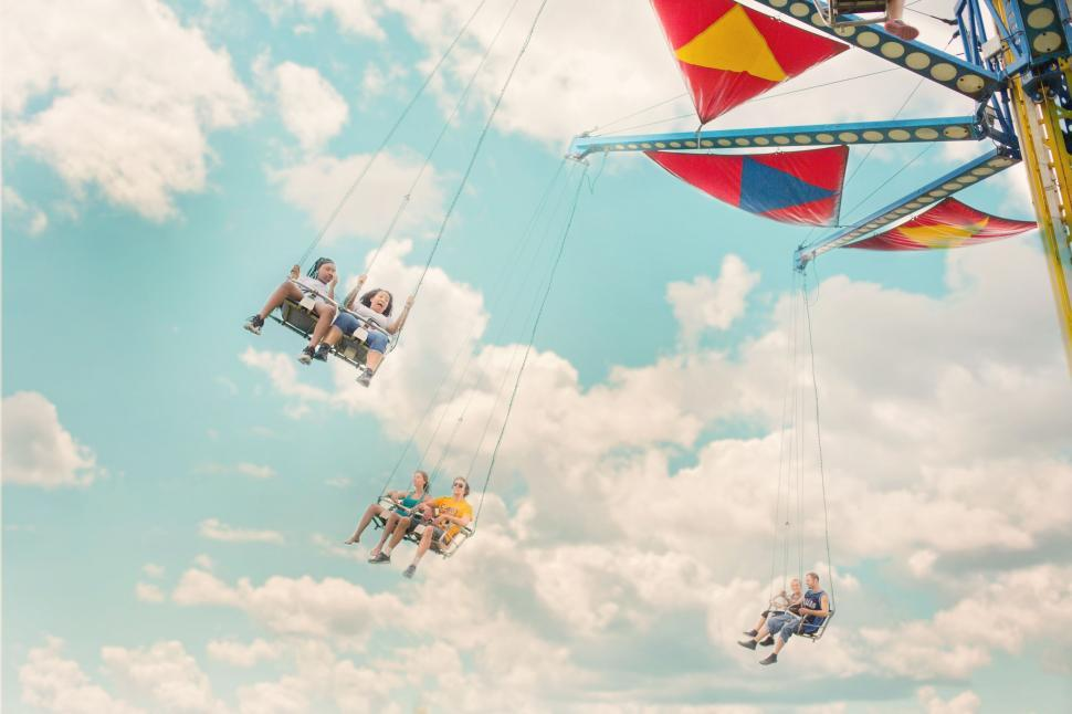 Download Free Stock Photo of Chain Swing ride at amusement park
