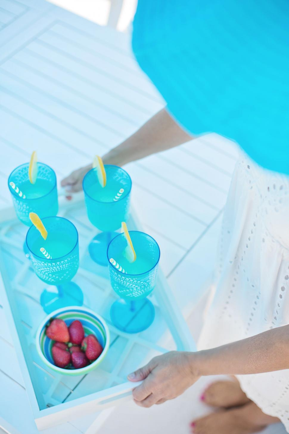 Download Free Stock Photo of Tray With Blue Cocktail Drinks