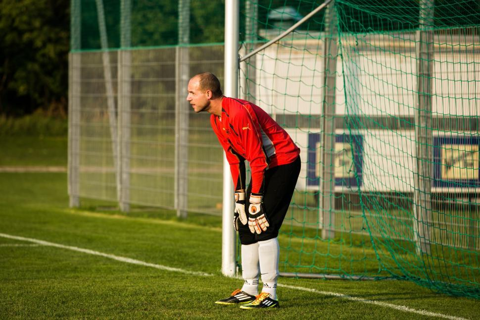 Download Free Stock Photo of Goalkeeper in defense position