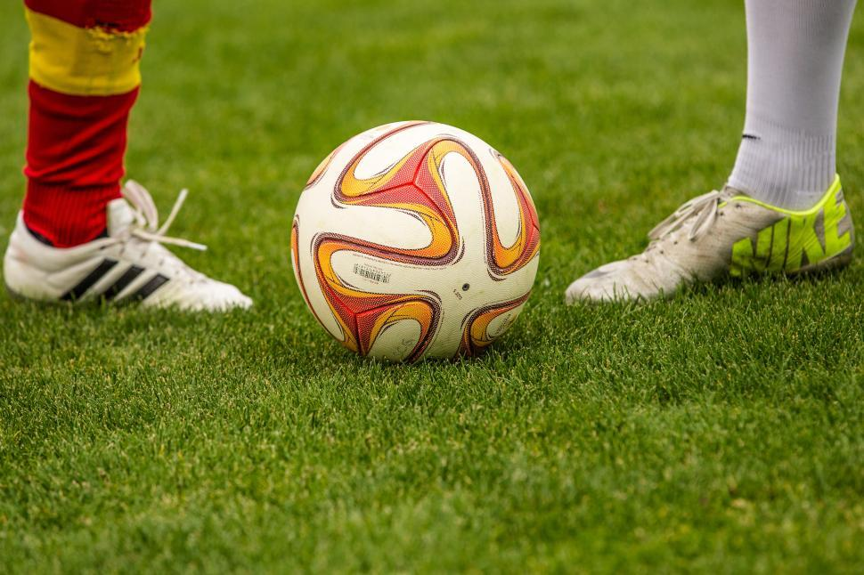 Download Free Stock Photo of Close-up of football on field