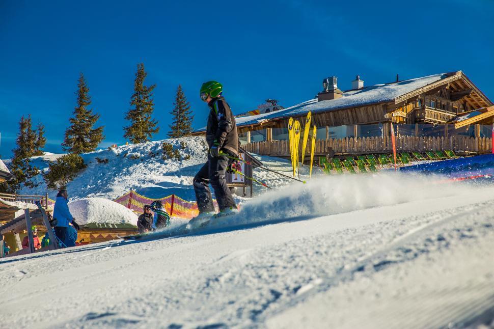 Download Free Stock Photo of Skiers on ski runway