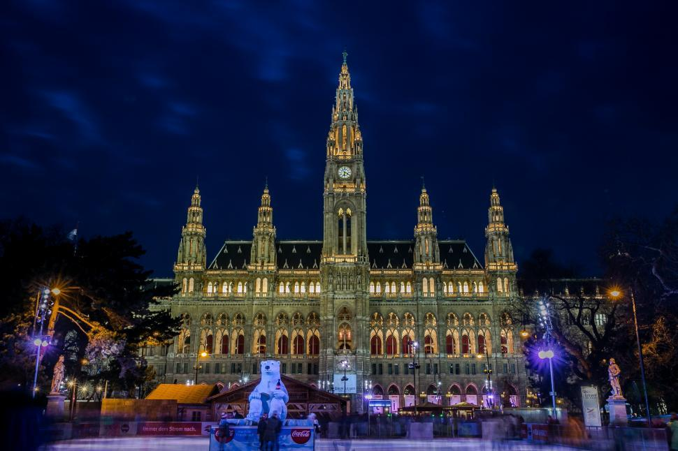 Download Free Stock Photo of Night View of Town hall from ice skating rink in Vienna, Austria
