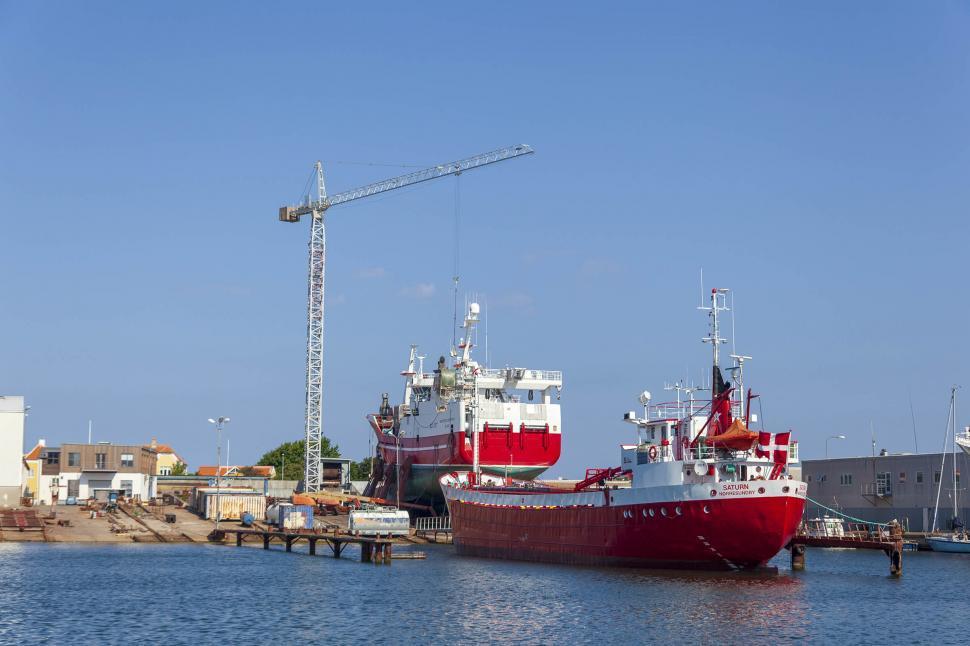 Download Free Stock Photo of Ships  at a Shipyard