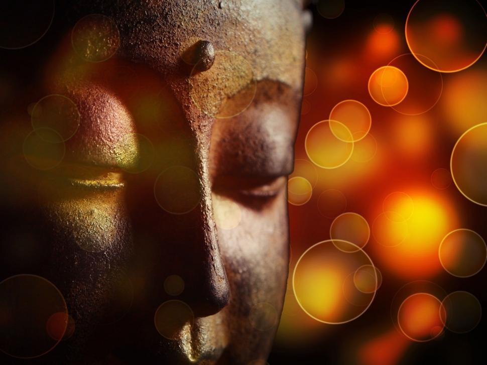 Download Free Stock Photo of Buddha Statue and Bokeh lights