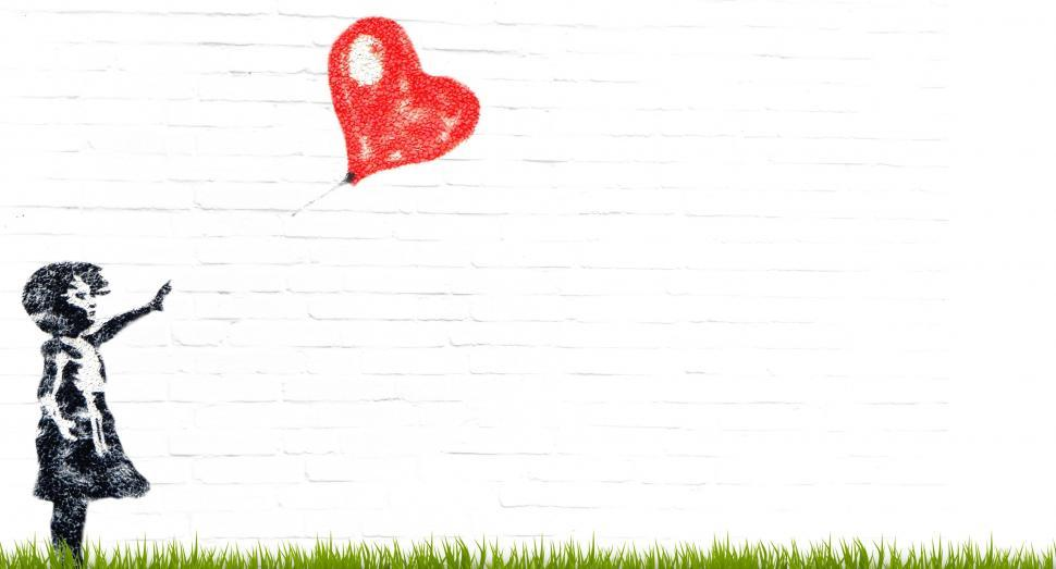 Download Free Stock Photo of girl balloon composing child heart innocent love loss wave female play flying adieu bye farewell windy ade goodbye divorce separation separate letting go leave blank give up fortlassen waiver renounce sad cartoon banksy-motif street art art artists template graffiti sprayer red black longing mural drawing meadow wall white wall facade