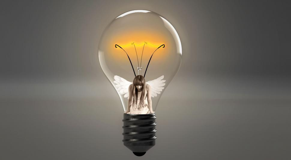 Download Free Stock Photo of glowworm composing exhausted break rest tired girl light bulb man in light bulb fee click elf wing fairytale woman fantasy beautiful magic young woman female mythical creatures angel