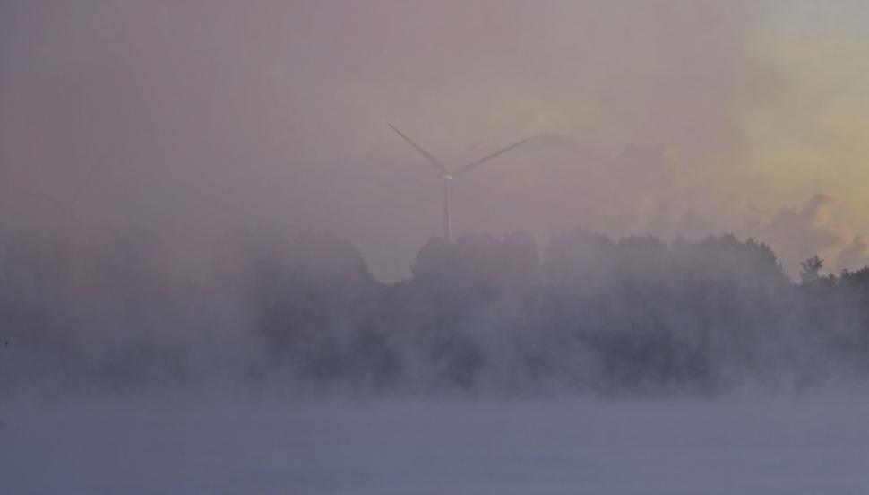 Download Free Stock Photo of Wind Turbines and Fog