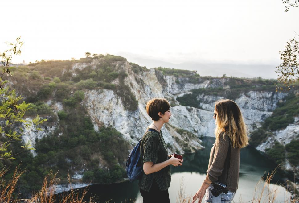 Download Free Stock Photo of Two young caucasian female hikers