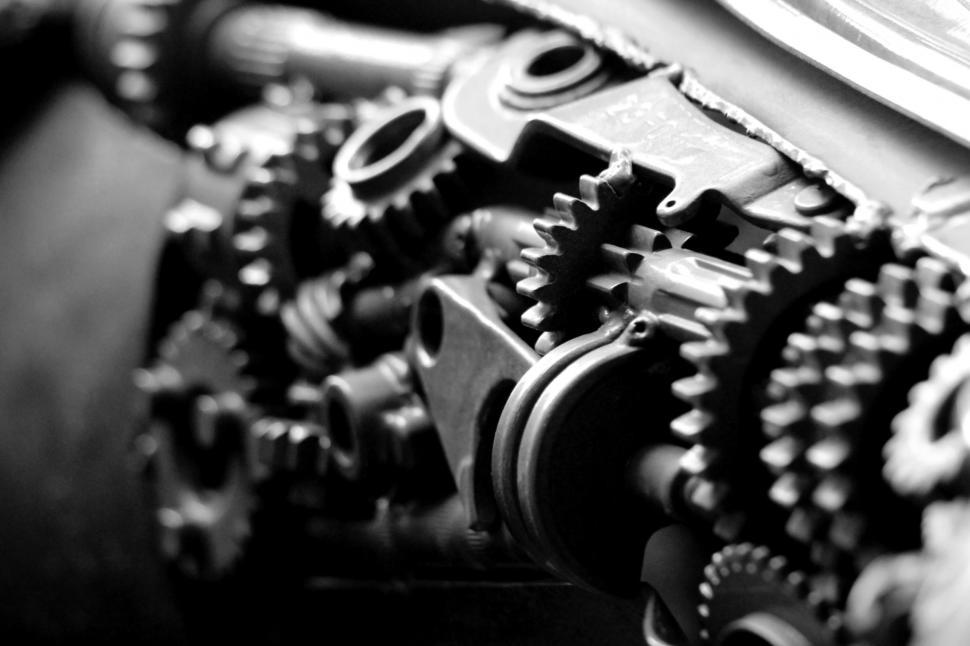 Download Free Stock HD Photo of Black And White Engine Gears  Online