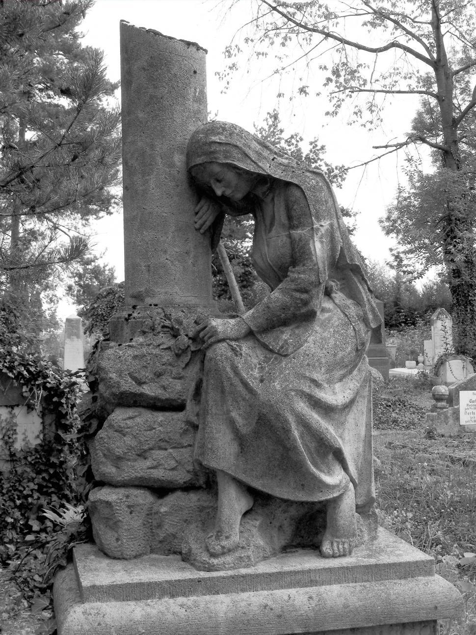 Download Free Stock Photo of Cemetery scene With grave stones black & white image