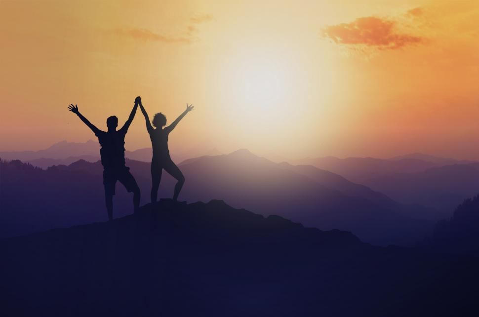 Download Free Stock Photo of Woman and Man on Mountain Top - Success - Union - Achievement