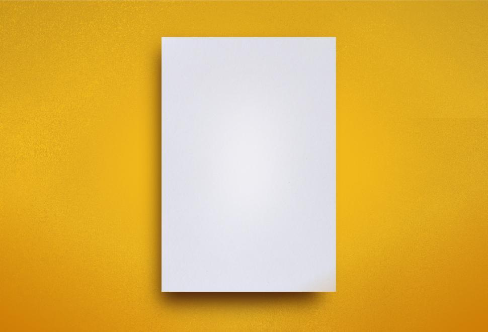 Download Free Stock Photo of Empty White Paper Sheet on Yellow Background