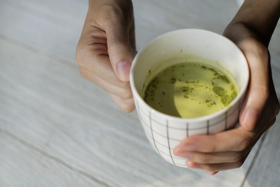 Download Free Stock Photo of Hot cup of Matcha green Tea