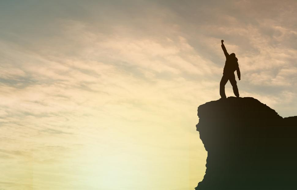 Download Free Stock Photo of Achievement - Success - Man on Top of Mountain