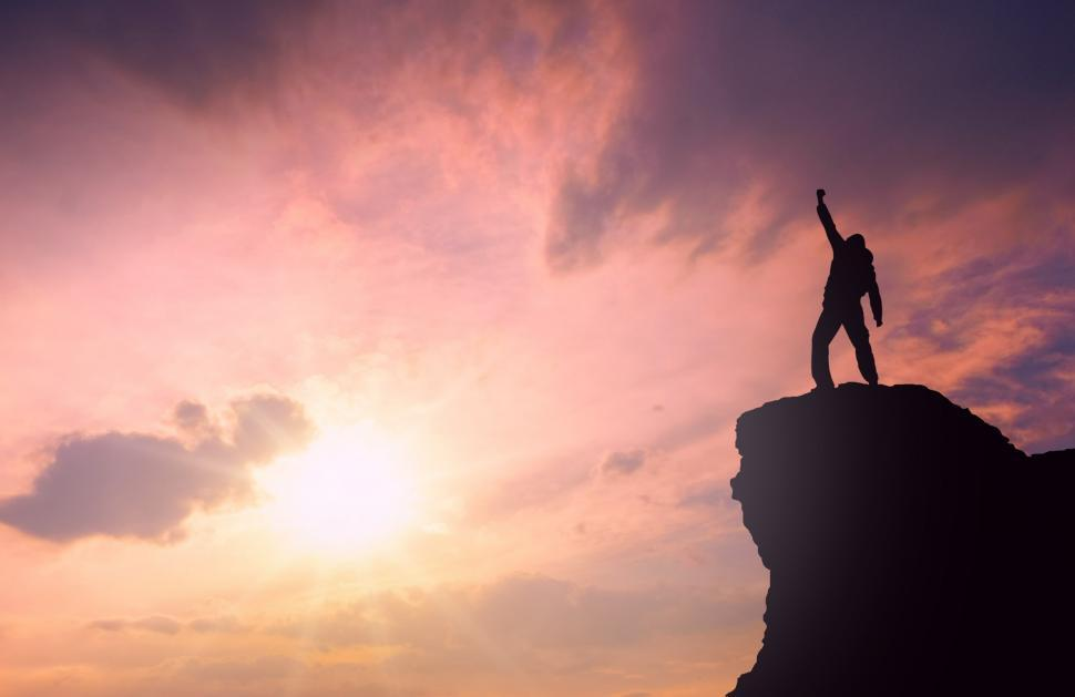 Download Free Stock Photo of Success - Man on Top of Mountain
