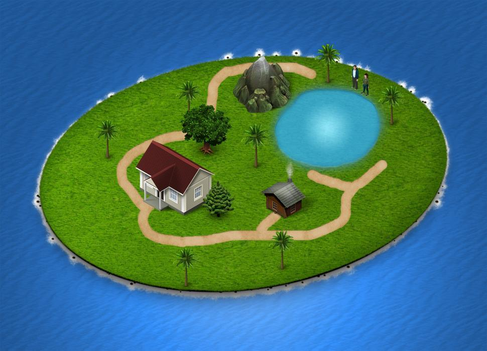 Download Free Stock Photo of Isometric Island Map - Holiday Resort