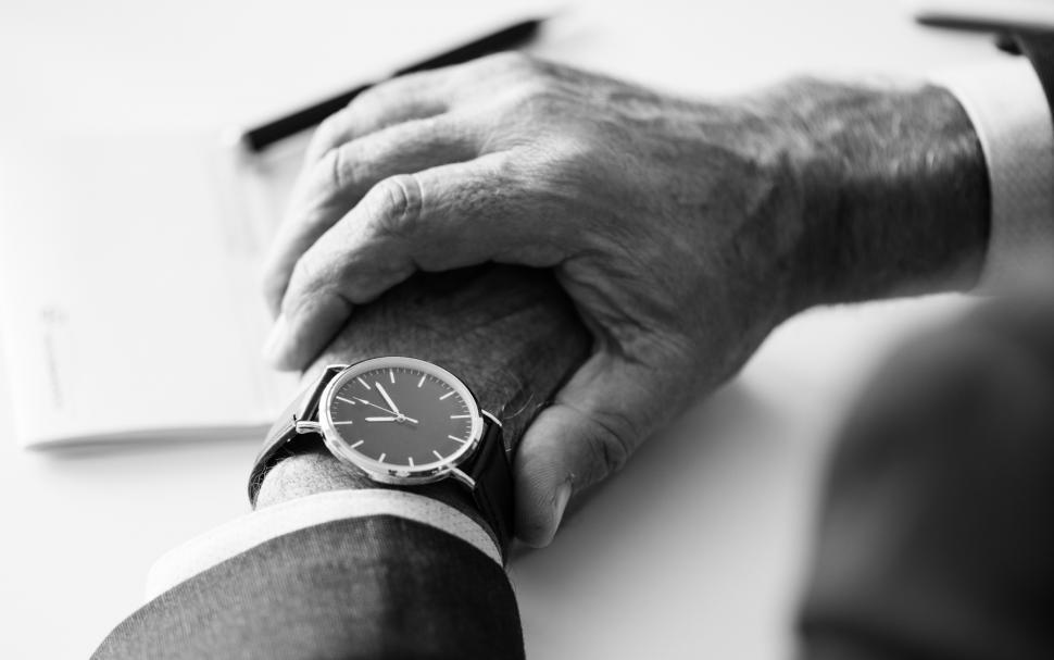 Download Free Stock Photo of Black and white close up of a wrist watch