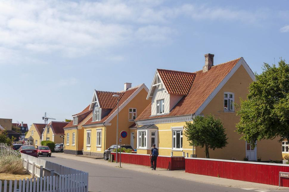 Download Free Stock Photo of Yellow colored houses