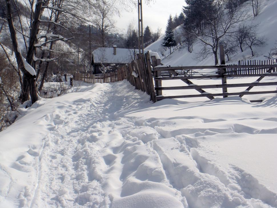 Download Free Stock HD Photo of Heavy snow fall over rural mountain path Online