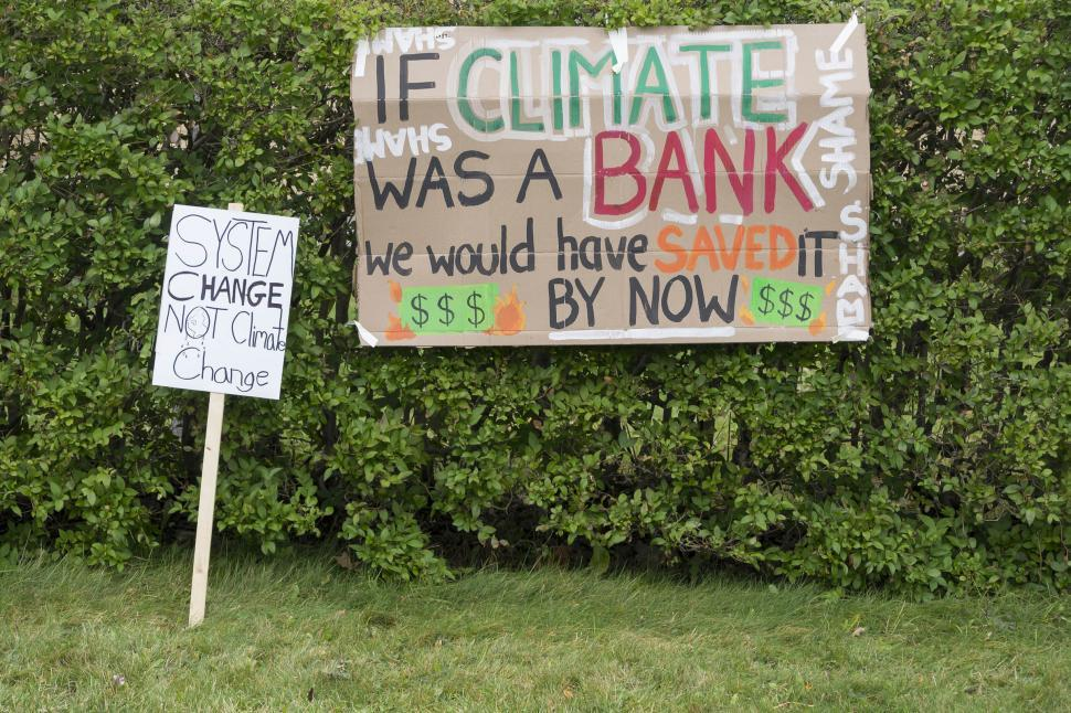 Download Free Stock Photo of Signs at a climate protest