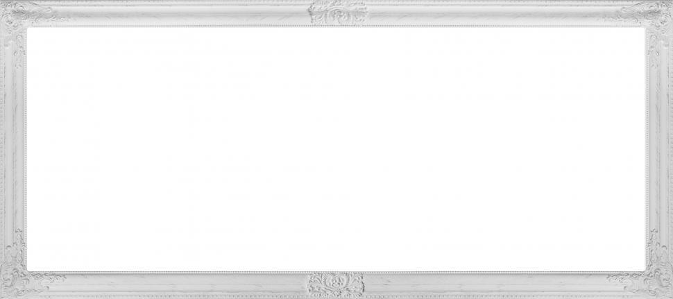 Download Free Stock HD Photo of Carved white picture frame over blank white area Online