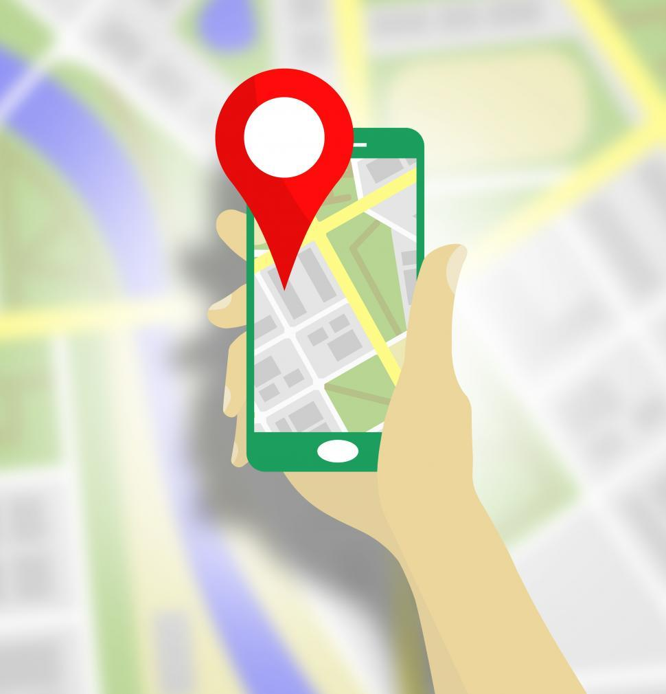 Download Free Stock Photo of Map pin location on the mobile screen vector