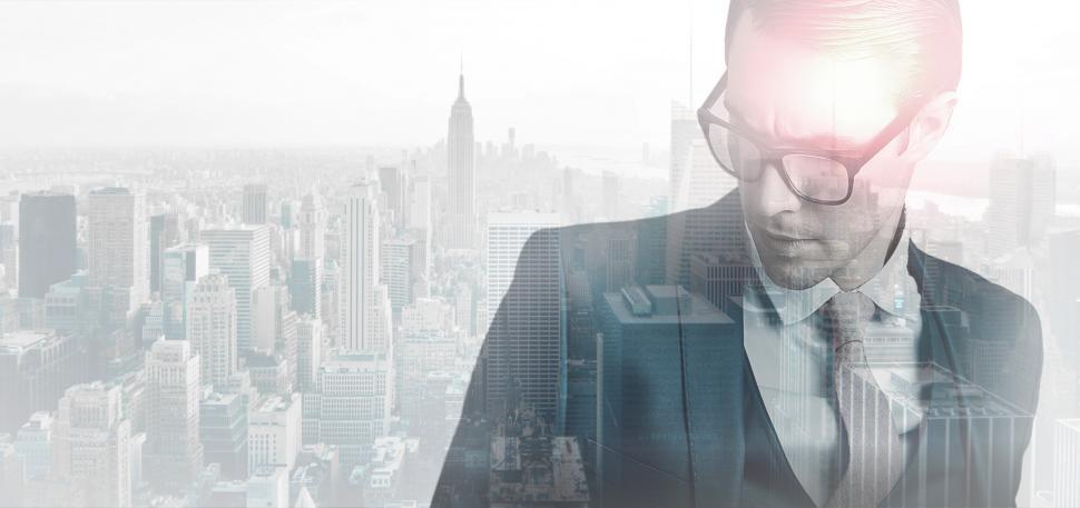 Download Free Stock HD Photo of Closeup of Young Businessman Over Cityscape - Double Exposure Online