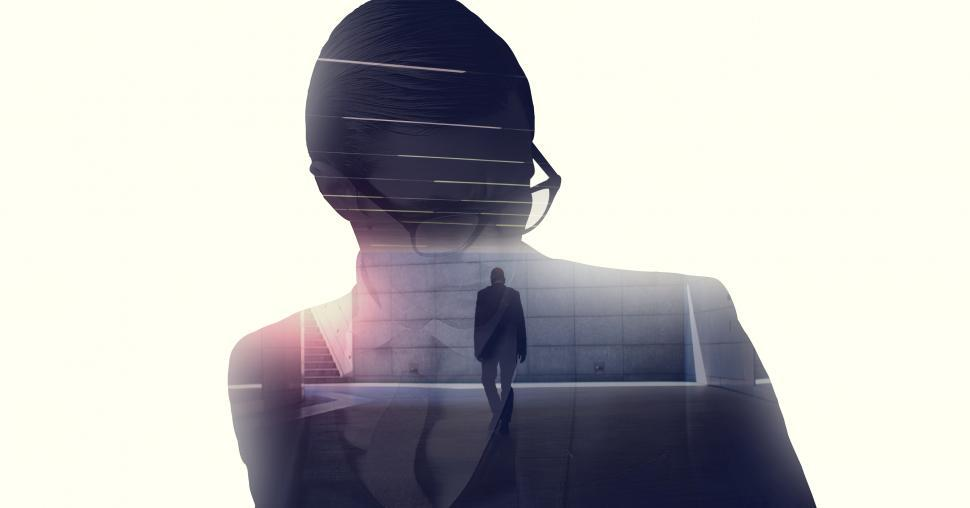 Download Free Stock HD Photo of Worried Businessman - Pensive - Reflection - Double Exposure Online