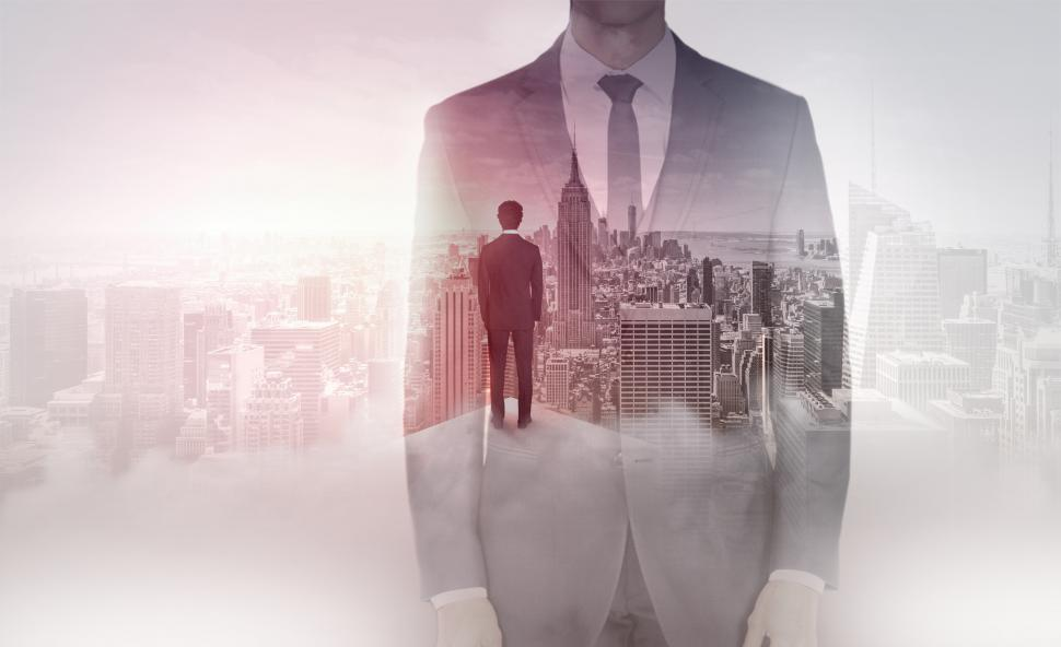 Download Free Stock HD Photo of Businessman Overlooking Manhattan - Success and Achievement Online